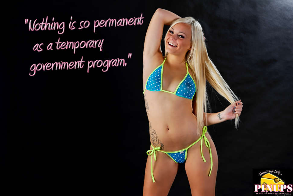 "Cheezy Pin up - July 31, 2015    ""Nothing is so permanent as a temporary government program."" - Milton Friedman  Model: Jessie"