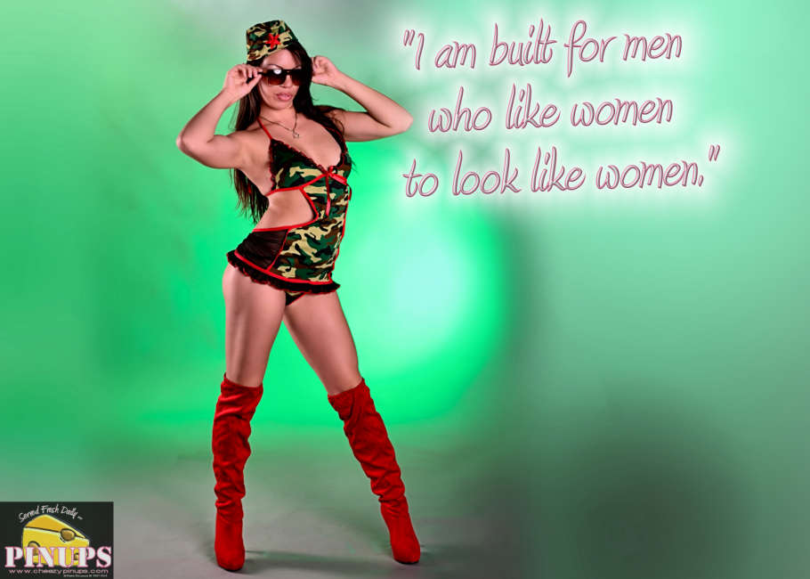 "Cheezy Pin up - August 21, 2015    ""I am built for men who like women to look like women."" - Kim Cattrall  Model: Marie-Anne"