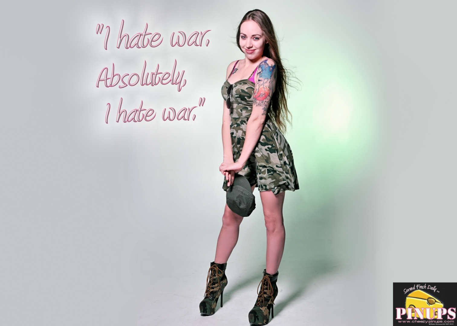 "Cheezy Pin up - August 22, 2015    ""I hate war. Absolutely, I hate war."" - Norman Schwarzkopf  Model: Krys"