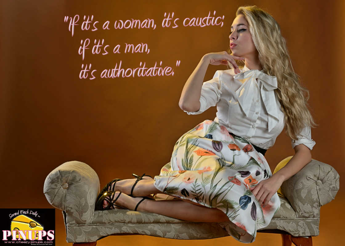 "Cheezy Pin up - September 25, 2015    ""If it's a woman, it's caustic; if it's a man, it's authoritative."" - Barbara Walters  Model: Elizabeth"