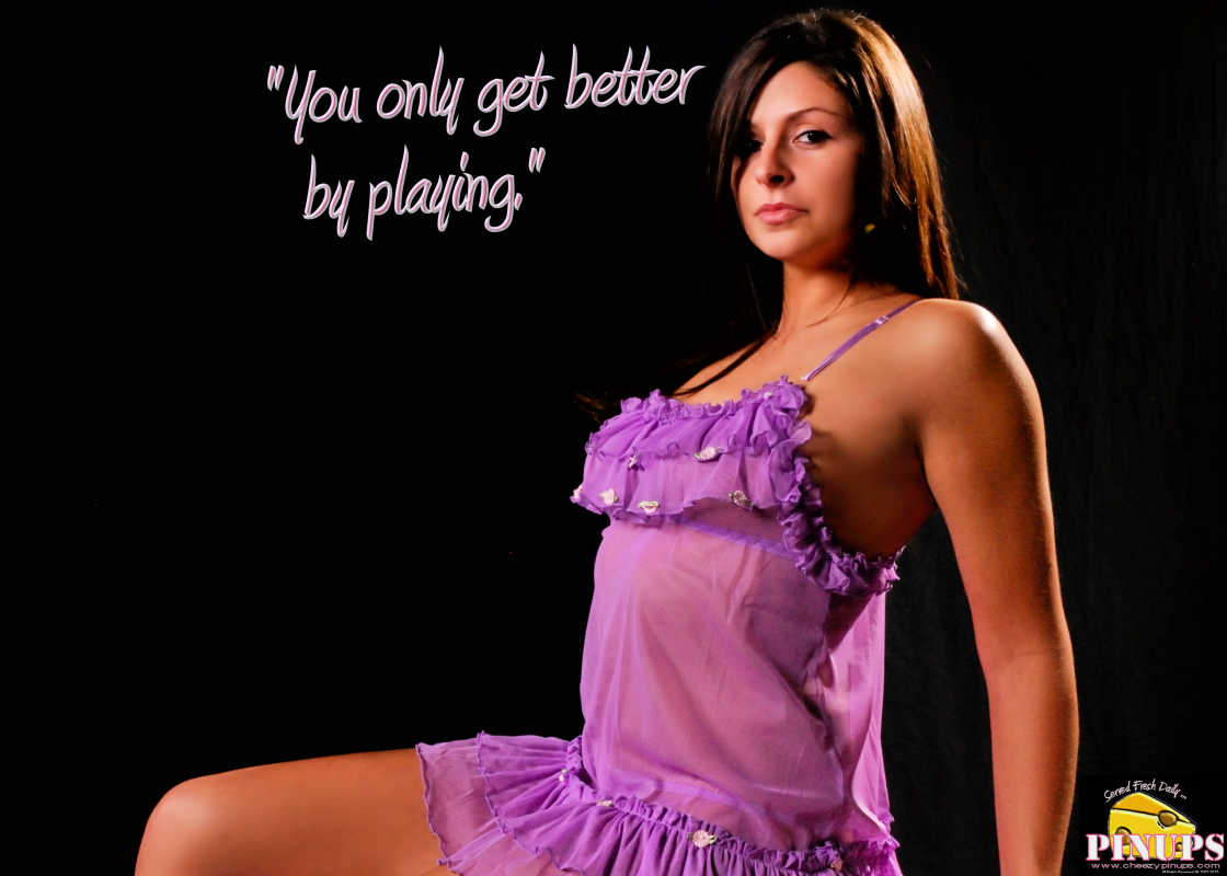 "Cheezy Pin up - September 30, 2015    ""You only get better by playing."" - Buddy Rich  Model: Kourtney"