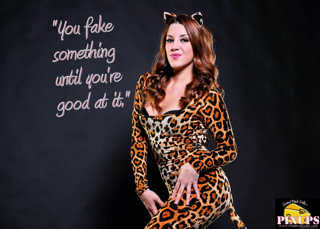 "Cheezy Pin up - October 23, 2015    ""You fake something until you're good at it."" - Al Yankovic  Model: Amanda"