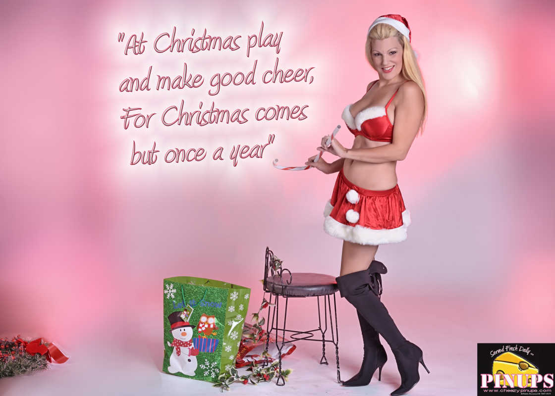 "Cheezy Pin up - December 20, 2015    ""At Christmas play and make good cheer, For Christmas comes but once a year"" - Thomas Tusser  Model: Jennifer"
