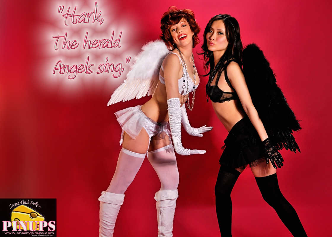 "Cheezy Pin up - December 21, 2015    ""Hark, the herald angels sing"" - Charles Wesley  Models: Isabelle & Julie"