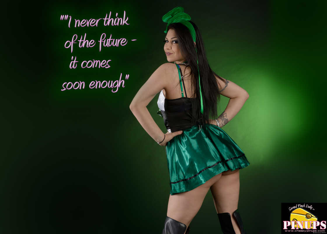 "Cheezy Pin up - March 14, 2016    ""I never think of the future - it comes soon enough"" - Albert Einstein  Model: Julie"