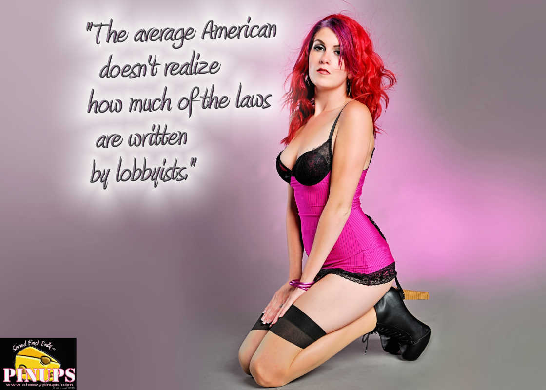 """Cheezy Pin up - April 27, 2016    """"The average American doesn't realize how much of the laws are written by lobbyists."""" - Eric Schmidt  Model: Carrie"""