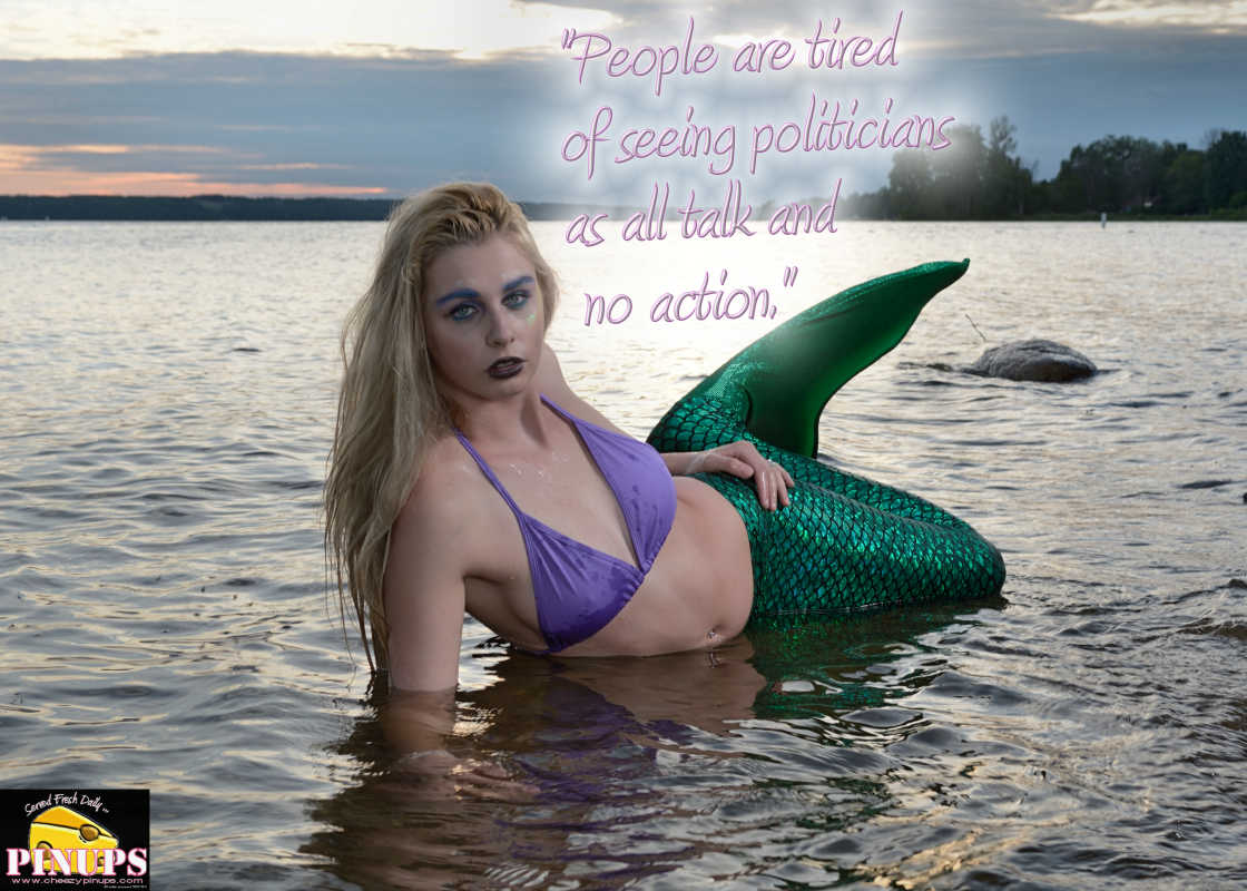 "Cheezy Pinup - June 14, 2016    ""People are tired of seeing politicians as all talk and no action. "" - Donald Trump  Model: Chantal"