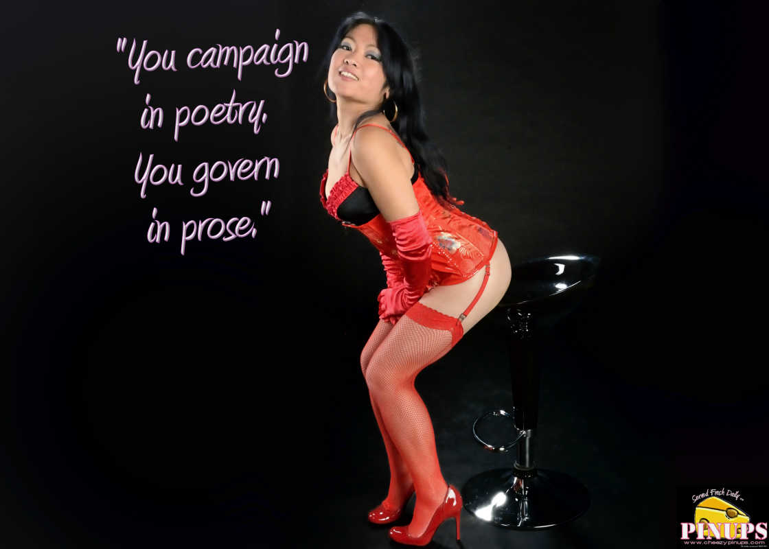 "Cheezy Pinup - June 15, 2016    ""You campaign in poetry. You govern in prose."" - Mario Cuomo   Model: Carmen"