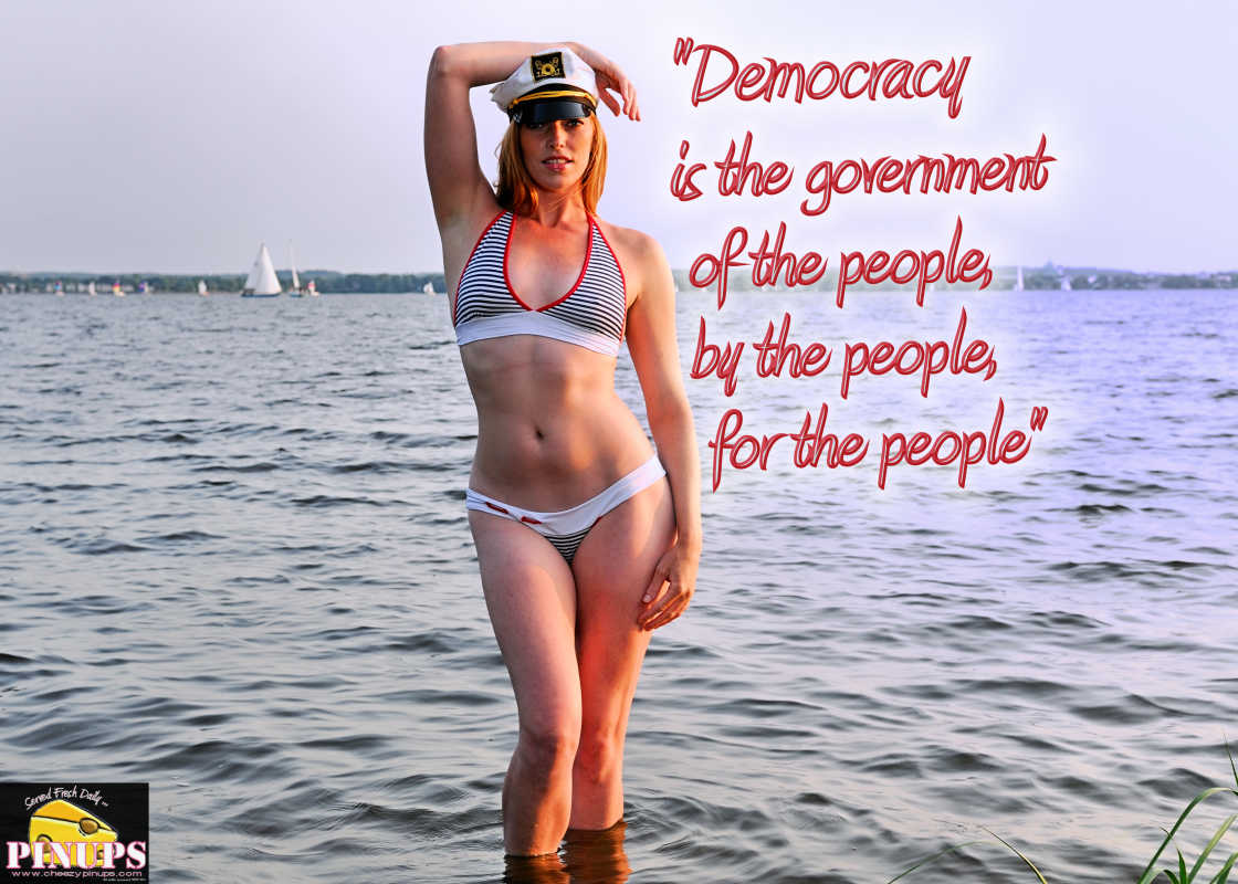 "Cheezy Pinup - July 4, 2016 ""Democracy is the government of the people, by the people, for the people"" - Abraham Lincoln  Model: Kate"