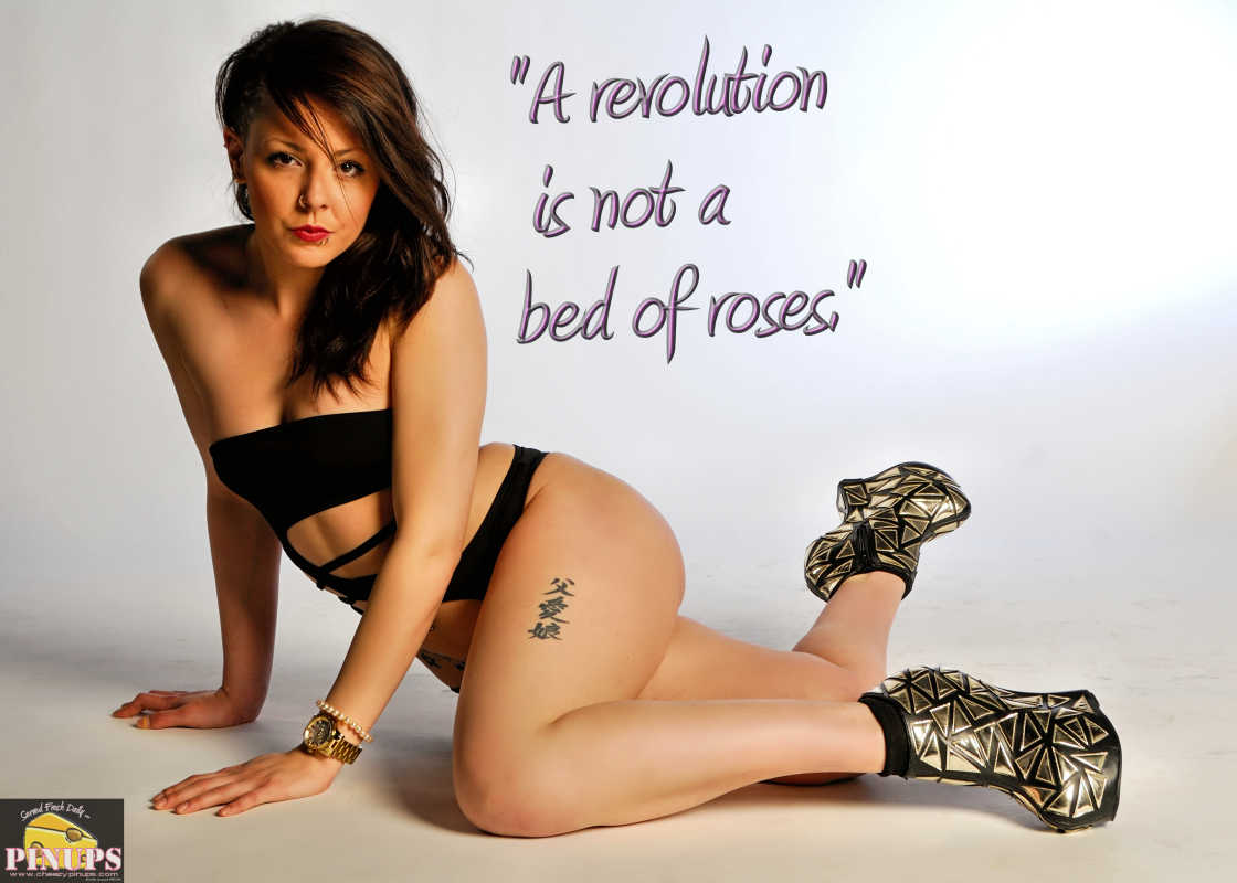 "Cheezy Pinup - August 13, 2016 ""A revolution is not a bed of roses."" - Fidel Castro Model: Alexandra"
