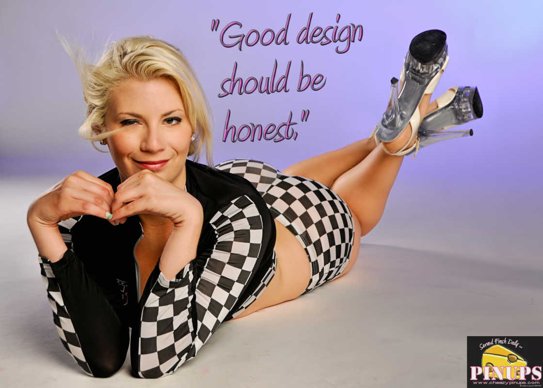 "Cheezy Pinup - September 3, 2016 ""Good design should be honest."" - Ferdinand Porsche  Model: Nicole"