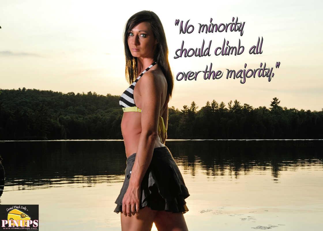"Cheezy Pinup - September 29, 2016 ""No minority should climb all over the majority."" - Lech Walesa  Model: Melanie"