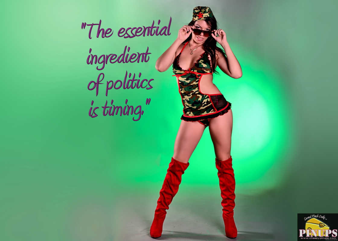 "Cheezy Pinup - October 18, 2016 ""The essential ingredient of politics is timing."" - Pierre Trudeau  Model: Marie-Anne"