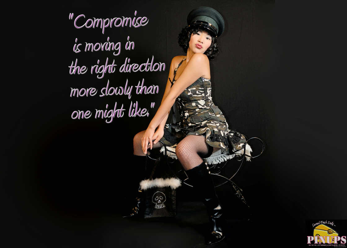 "Cheezy Pinup - October 19, 2016 ""Compromise is moving in the right directlon more slowly than one might like."" - Grover Norquist  Model: Aimee"