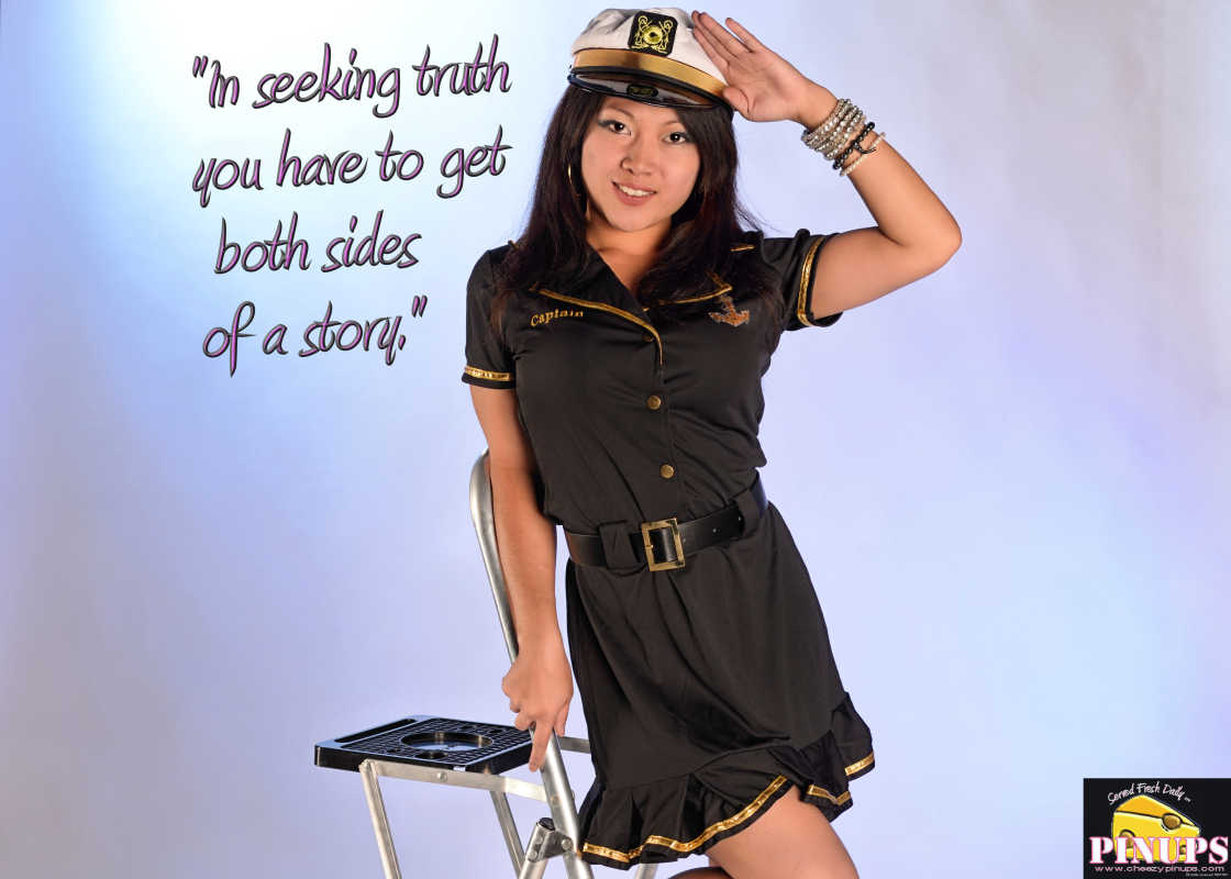 """Cheezy Pinup - November 4, 2016 """"In seeking truth you have to get both sides of a story."""" - Walter Cronkite Model: Carmen"""