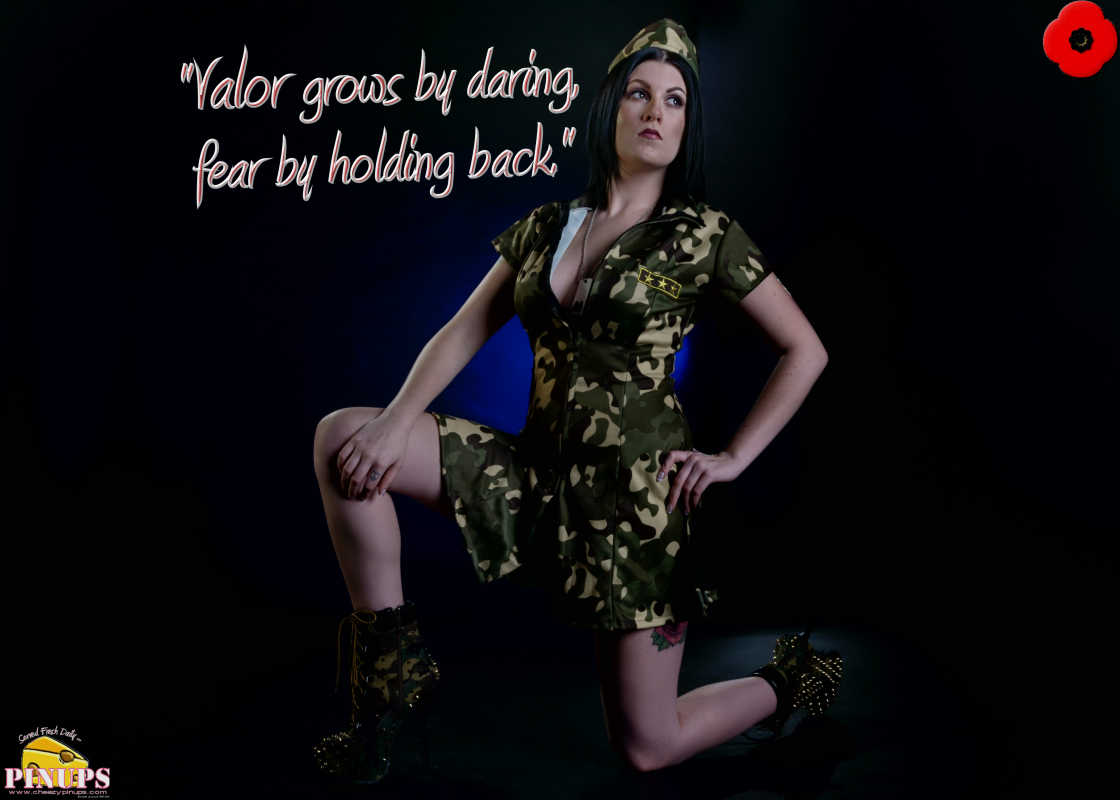 "Cheezy Pinup - November 11, 2016 ""Valor grows by daring, fear by holding back."" - Publilius Syrus  Model: Carrie"