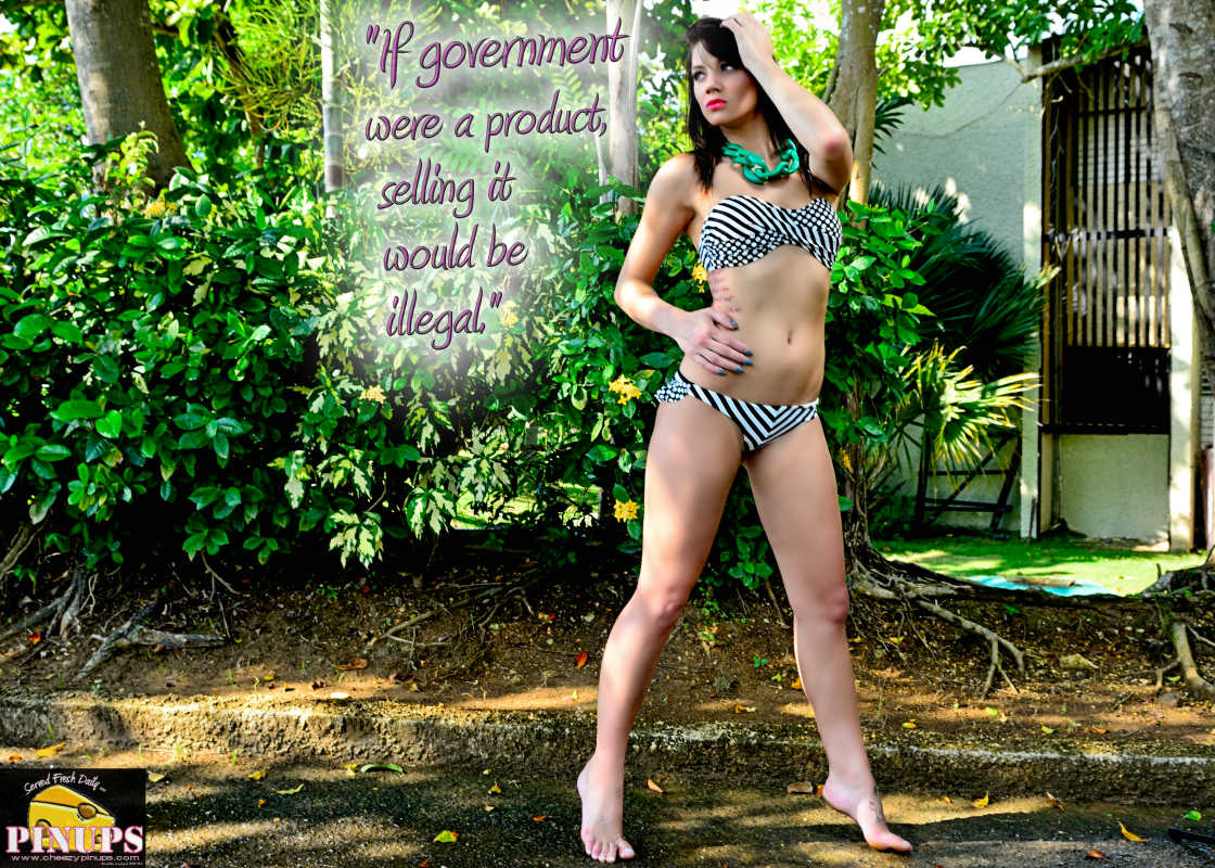"Cheezy Pinup - November 14, 2016 ""If government were a product, selling it would be illegal."" - P. J. O'Rourke  Model: Sloan"