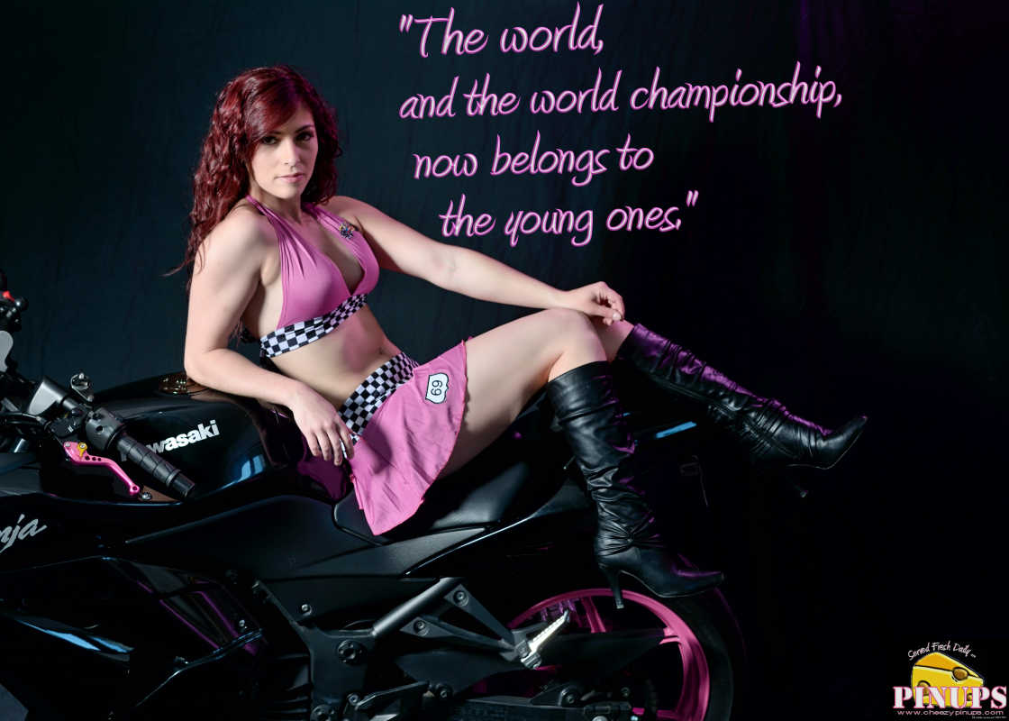 """Cheezy Pinup - November 27, 2016 """"The world, and the world championship, now belongs to the young ones."""" - Keke Rosberg Model: Ashley"""
