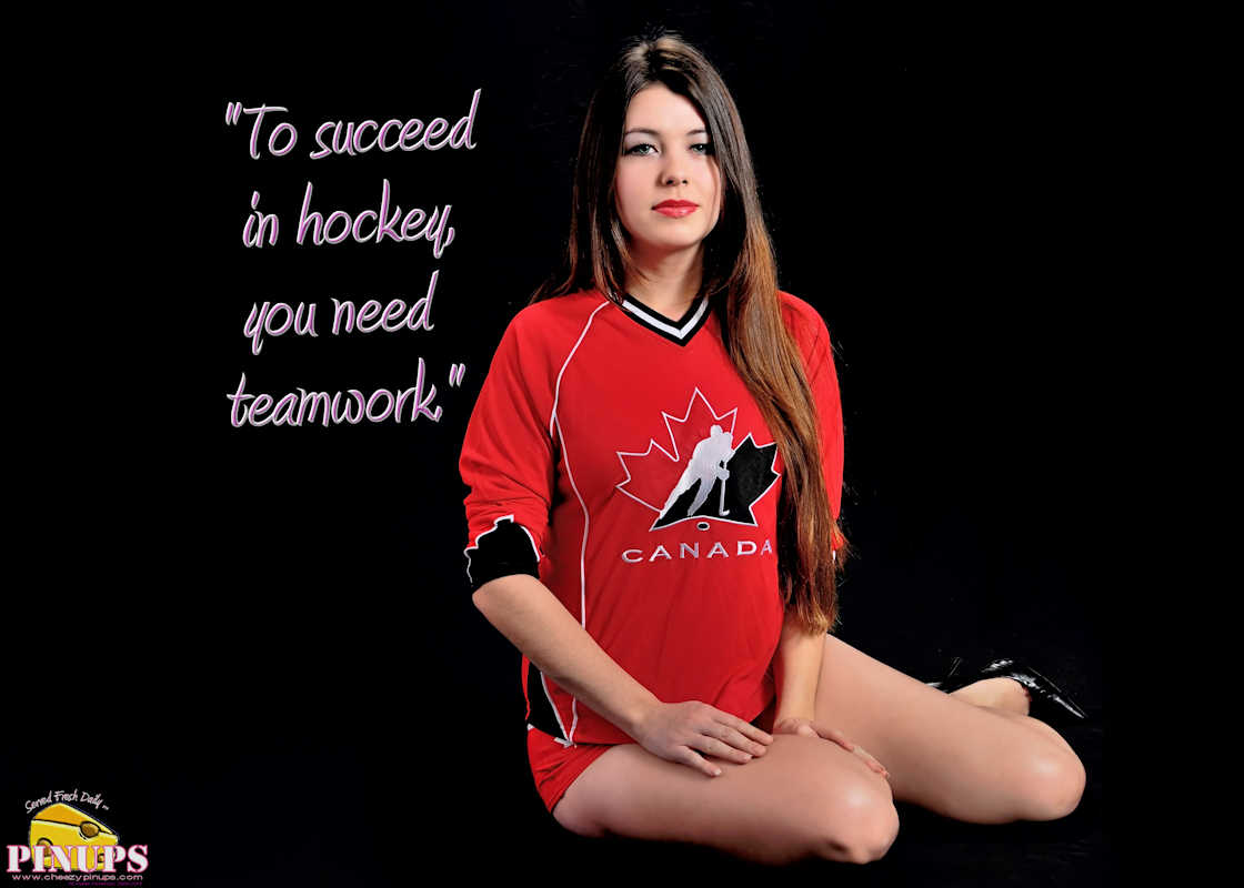 "Cheezy Pinup - January 1, 2017 ""To succeed in hockey, you need teamwork."" - Henry Samueli Model: SammieJoe"