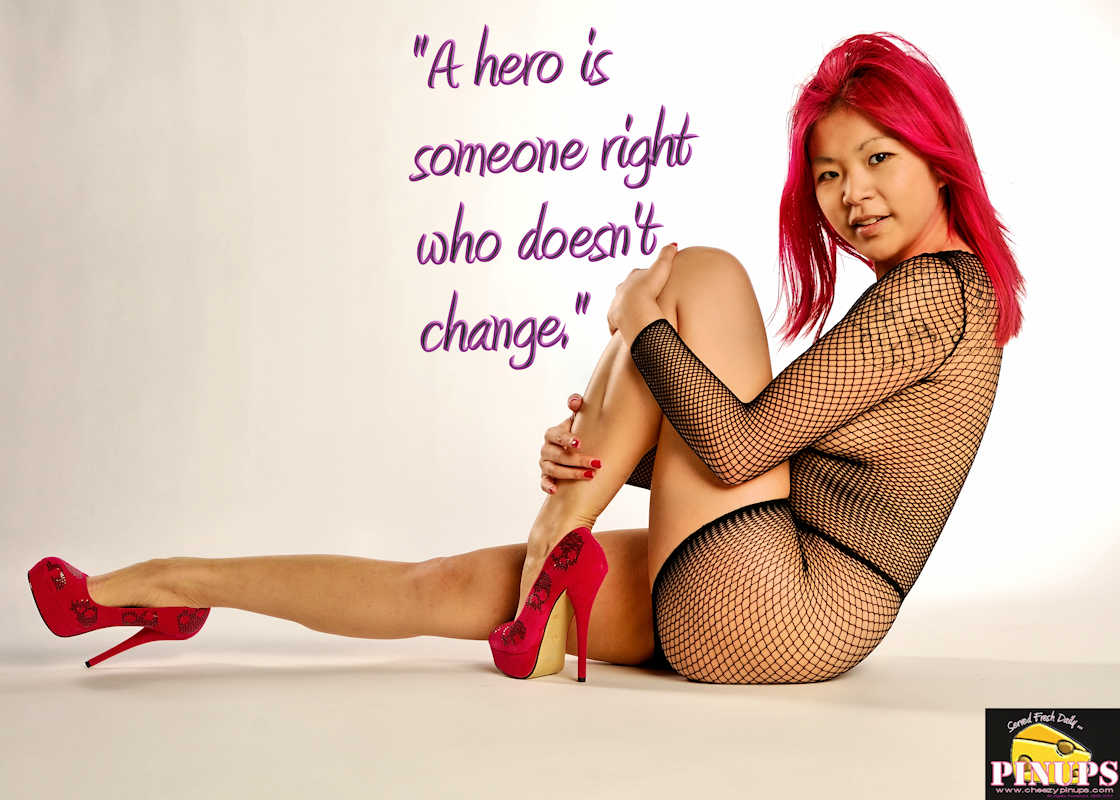"Cheezy Pinup - January 10, 2017 ""A hero is someone right who doesn't change."" - @GeorgeForeman Model: TwistedAngel"