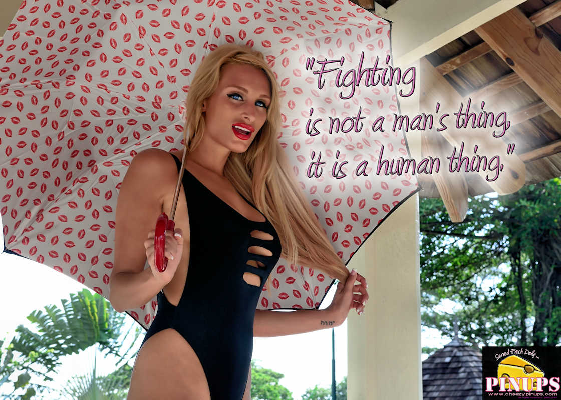 "Cheezy Pinup - February 1, 2017 ""Fighting is not a man's thing, it is a human thing."" - Ronda Rousey Model: @HemiGirl"