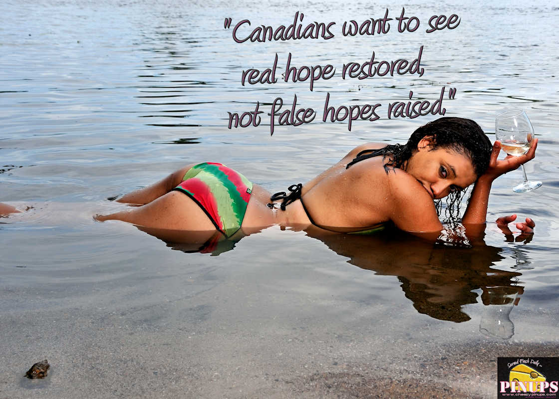 "Cheezy Pinup - March 10, 2017 ""Canadians want to see real hope restored, not false hopes raised."" - Kim Campbell Model: Ayesha"