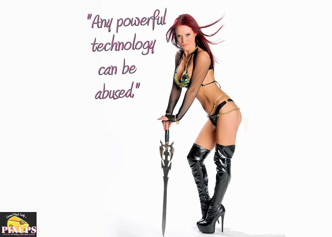 "Cheezy Pinup - April 25, 2017 ""Any powerful technology can be abused."" - K. Eric Drexler Model: Brandy"