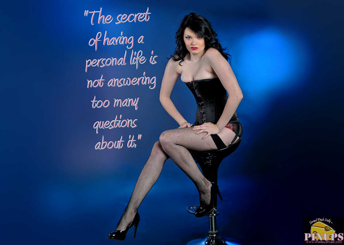 "Cheezy Pinup - May 23, 2017 ""The secret of having a personal life is not answering too many questions about it."" - Joan Collins Model: ScarletLetterxo"