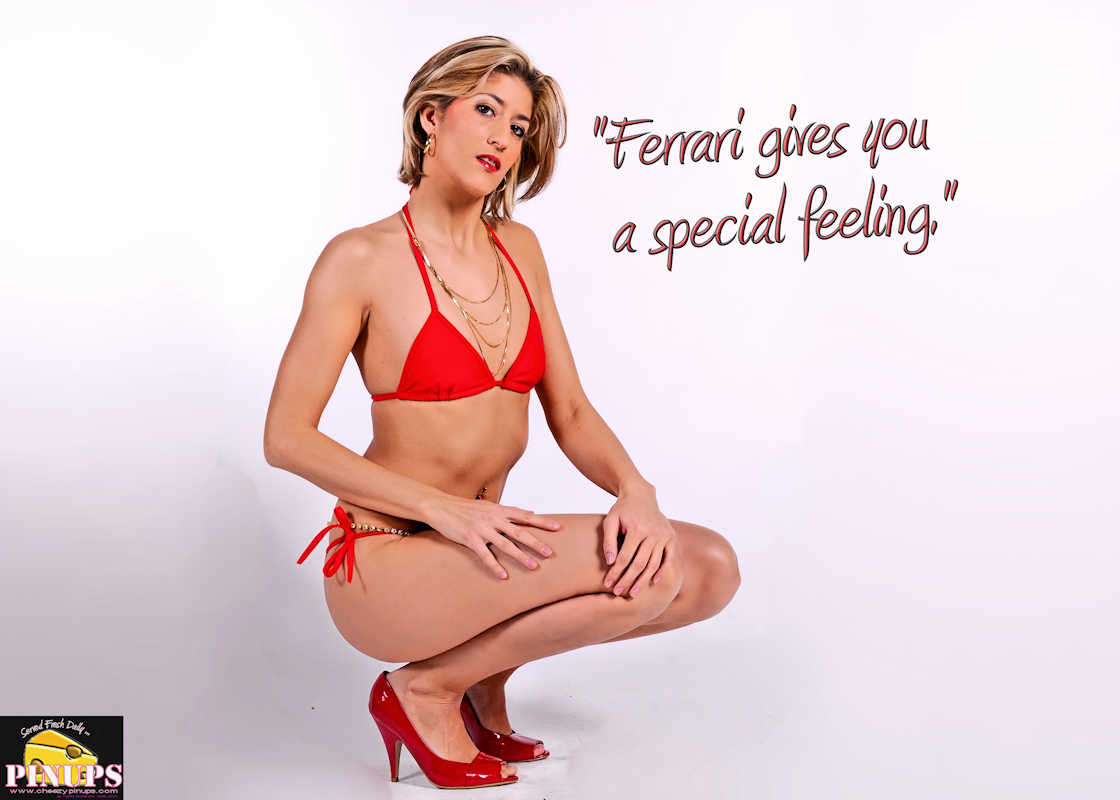 """Cheezy Pinup - July 29, 2017  """"Ferrari gives you a special feeling."""" - Fernando Alonso Model: Christina"""