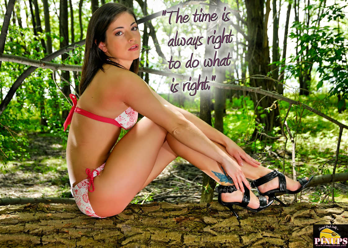 """Cheezy Pinup - August 18, 2018   """"The time is always right to do what is right."""" - Martin Luther King, Jr Model: Ashley G."""