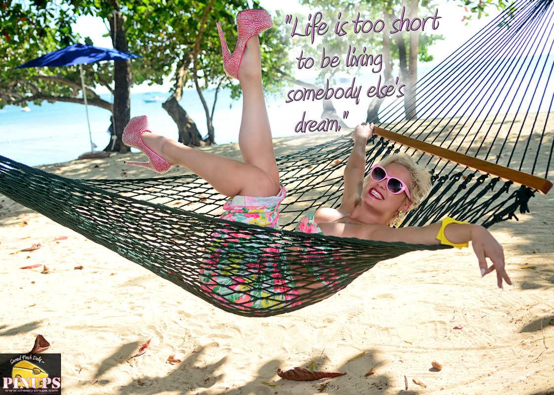 """Cheezy Pinup - September 29, 2017   """"Life is too short to be living somebody else's dream."""" - Hugh Hefner Model: MsJacquelyne"""