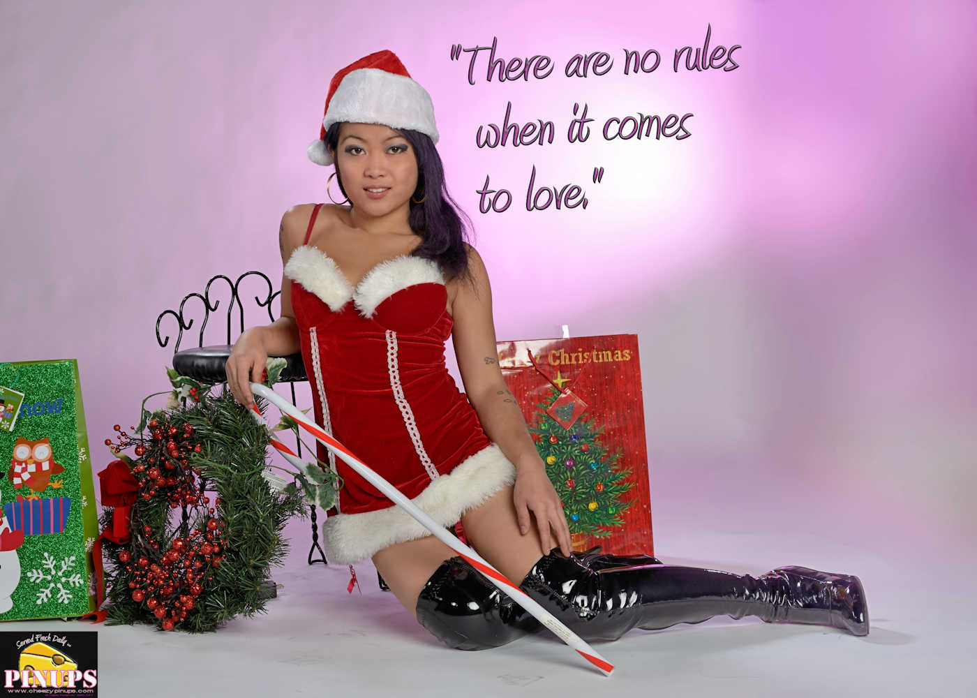 "Cheezy Pinup - December 13, 2017   ""There are no rules when it comes to love."" - @TaylorSwift Model: Carmen"