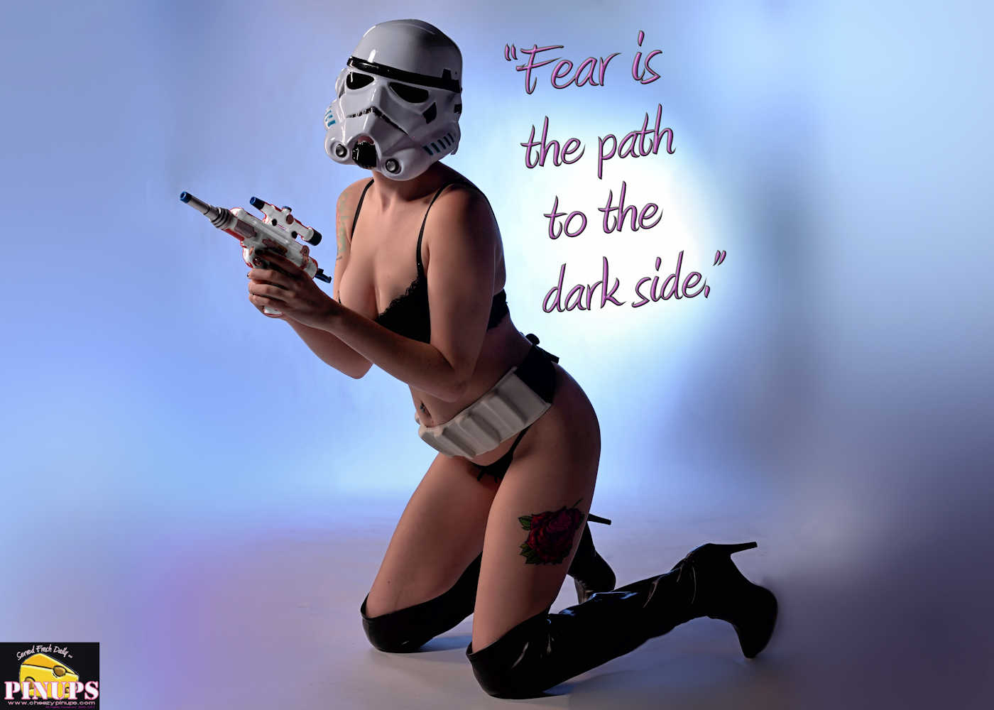 "Cheezy Pinup - December 16, 2017   ""Fear is the path to the dark side."" - Yoda Model: Carrie"