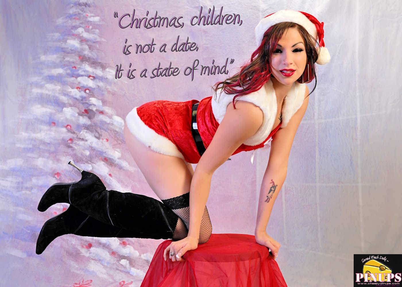 """Cheezy Pinup - December 17, 2017   """"Christmas, children, is not a date. It is a state of mind. """" -  Mary Ellen Chase Model: Bailey"""