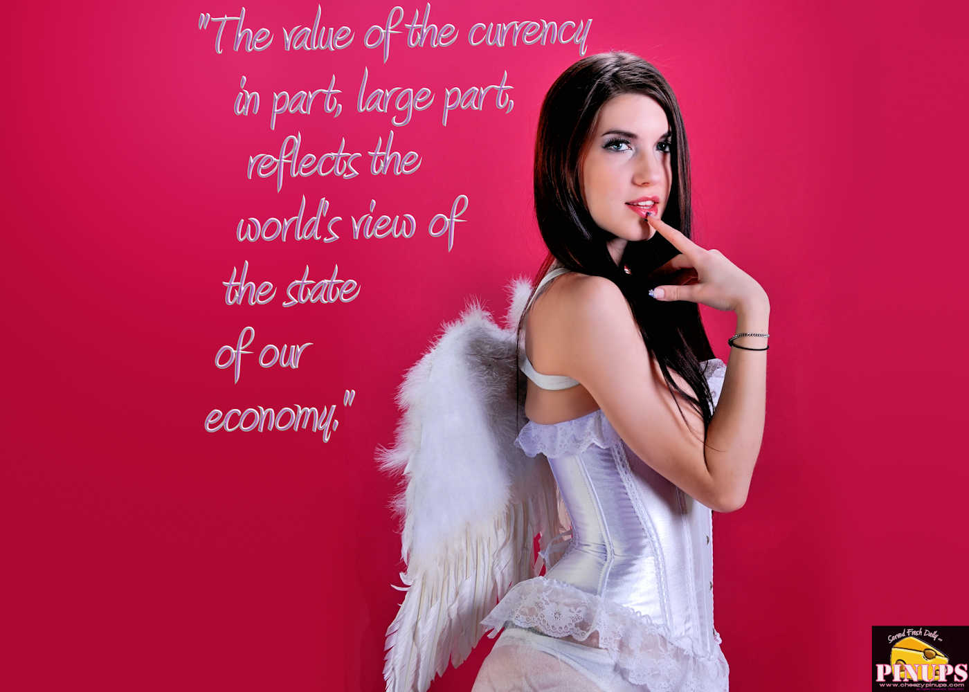 "Cheezy Pinup - December 30, 2017   ""The value of the currency in part, large part, reflects the world's view of the state of our economy."" - Jim Flaherty Model: SabrynaJade"