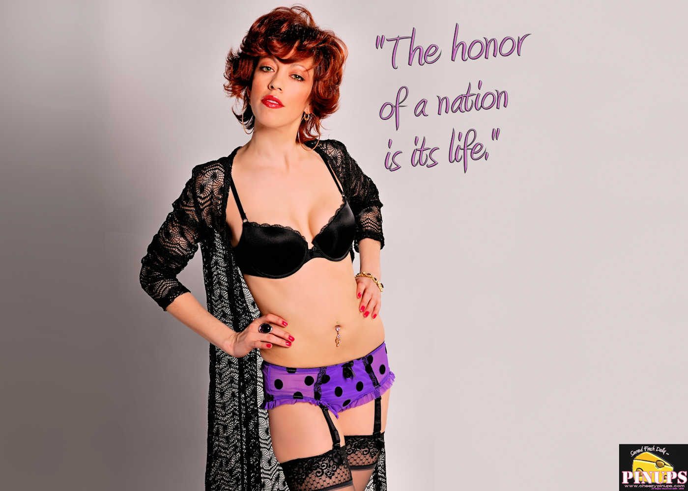"Cheezy Pinup - January 11, 2018   ""The honor of a nation is its life."" - Alexander Hamilton Model: Isabelle"