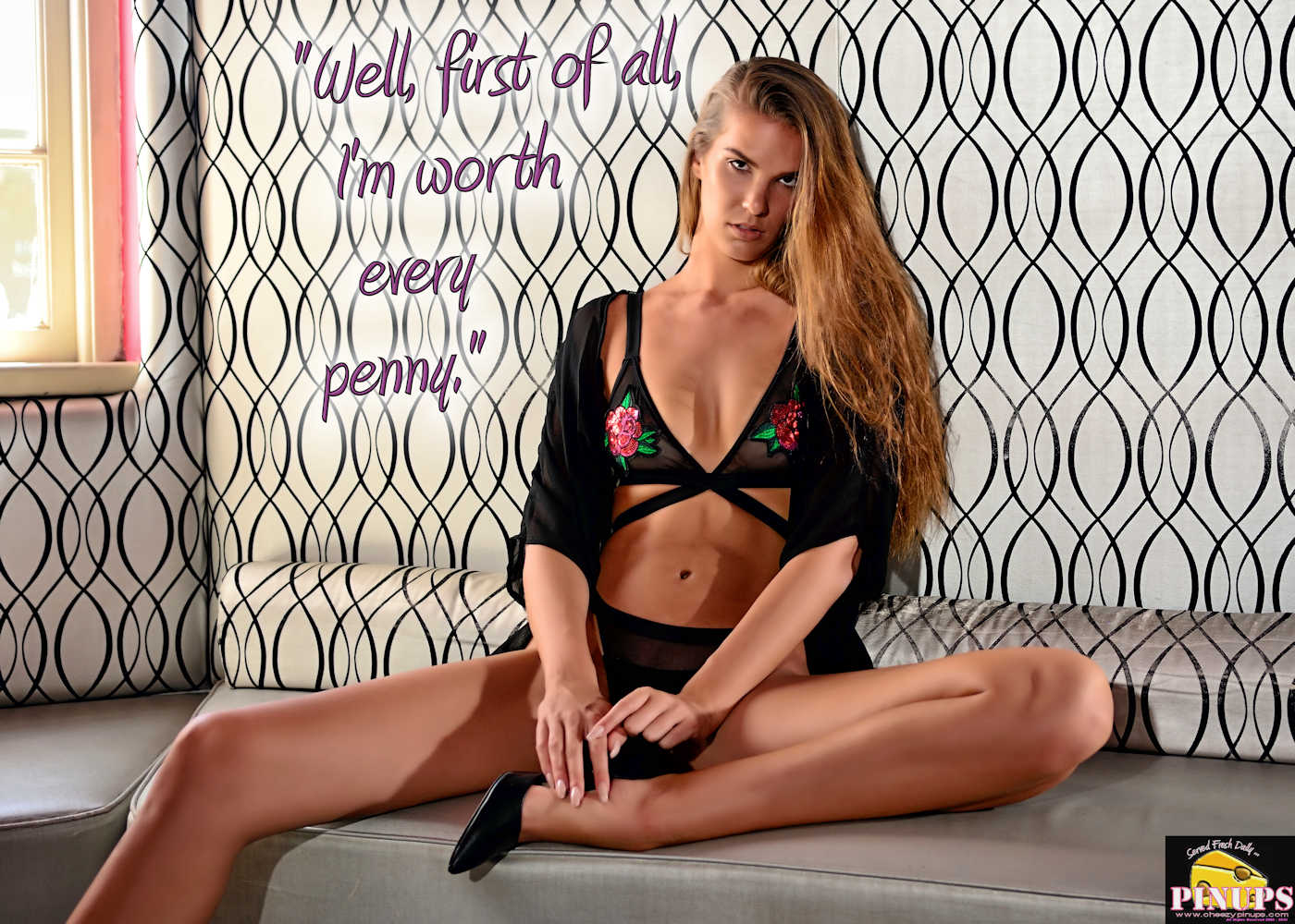 """Cheezy Pinup - January 12, 2018   """"Well, first of all, I'm worth every penny."""" - Howard Stern Model: Nicki Hill"""
