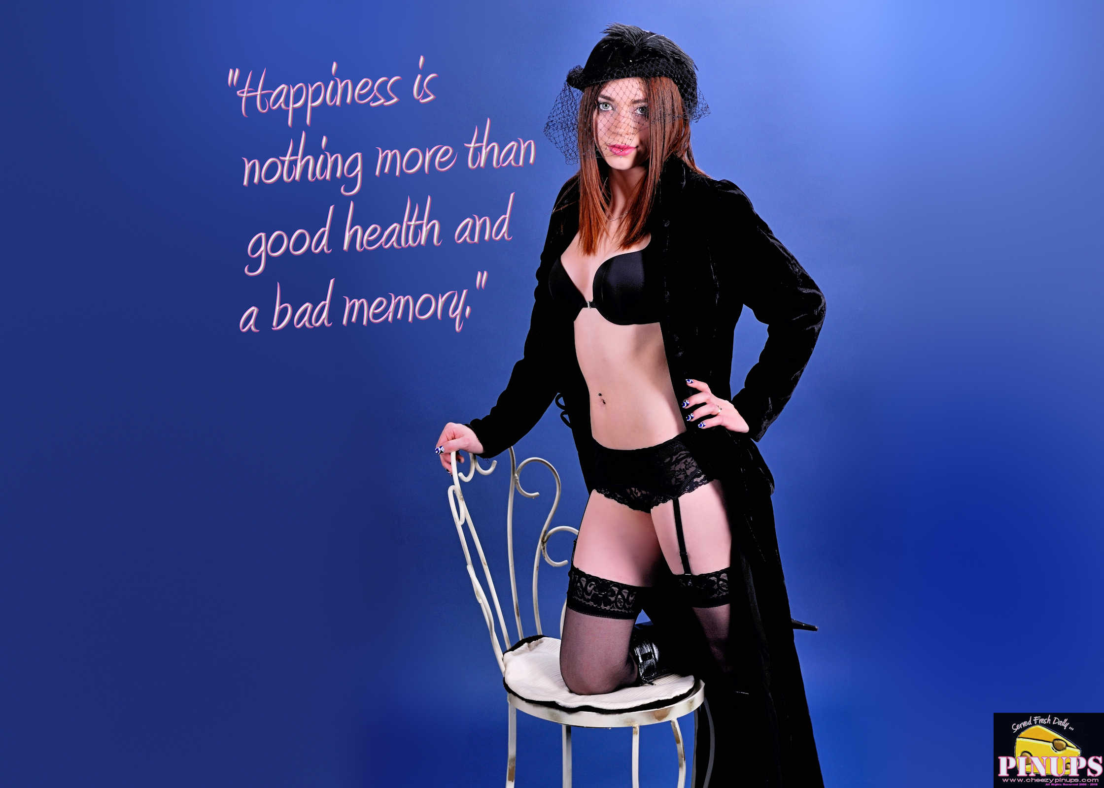 """Cheezy Pinup - January 14, 2018 """"Happiness is nothing more than good health and a bad memory."""" - Albert Schweitzer Model : Meagan"""