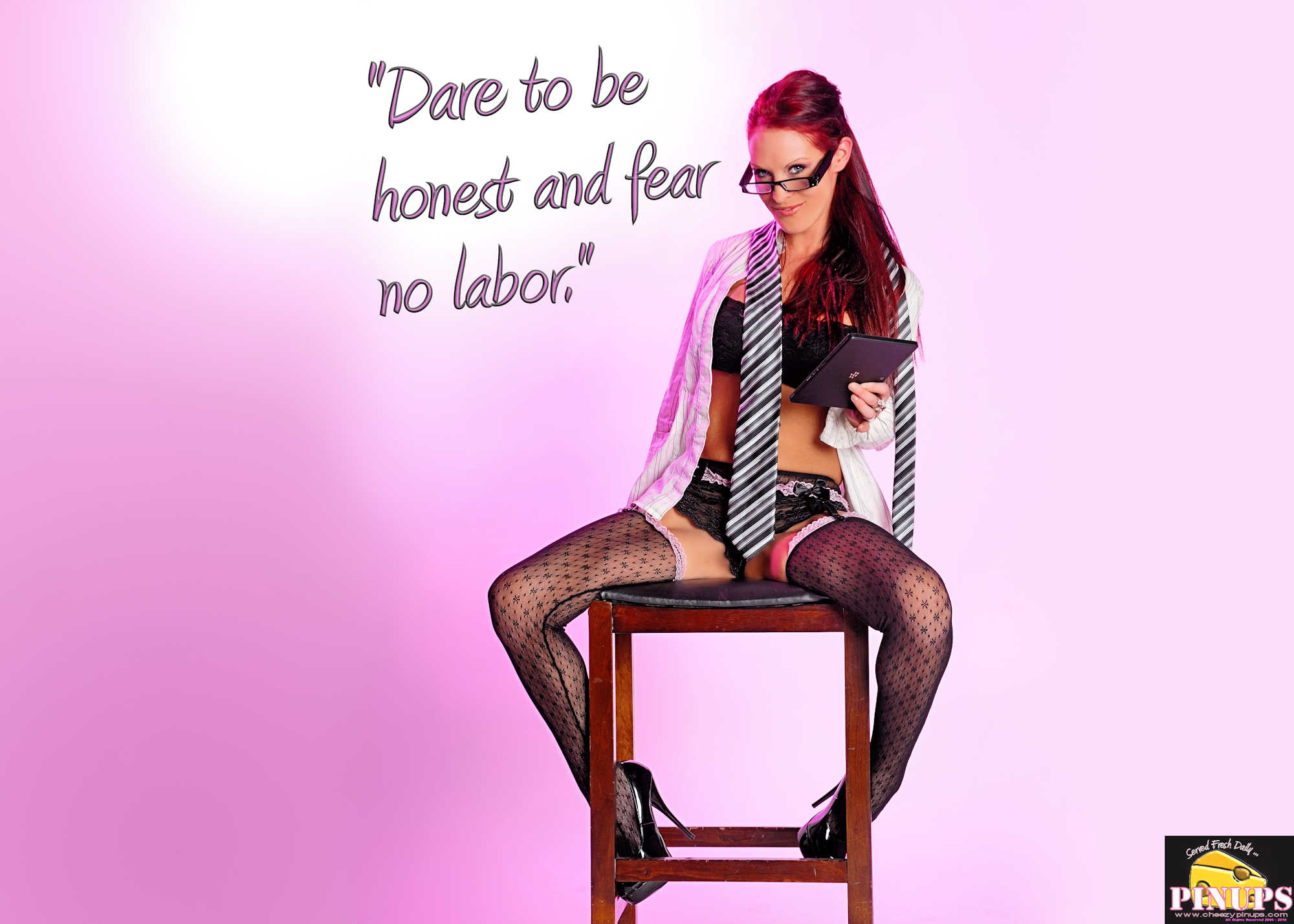 "Cheezy Pinup - January 25, 2018 ""Dare to be honest and fear no labor."" - Robert Burns Model: Brandy"