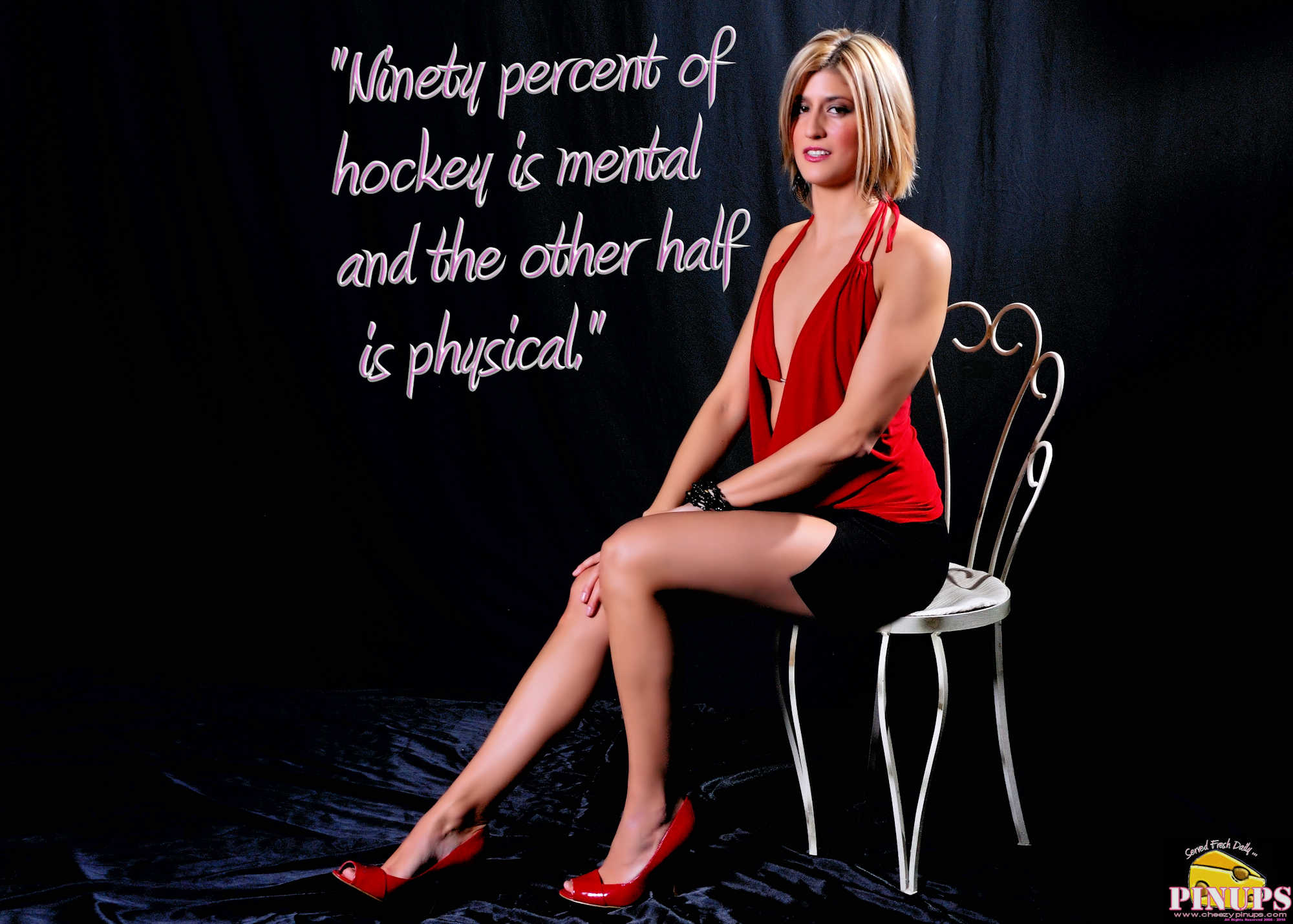 "Cheezy Pinup - January 26, 2018 ""Ninety percent of hockey is mental and the other half is physical."" - Wayne Gretzky Model: Christine"