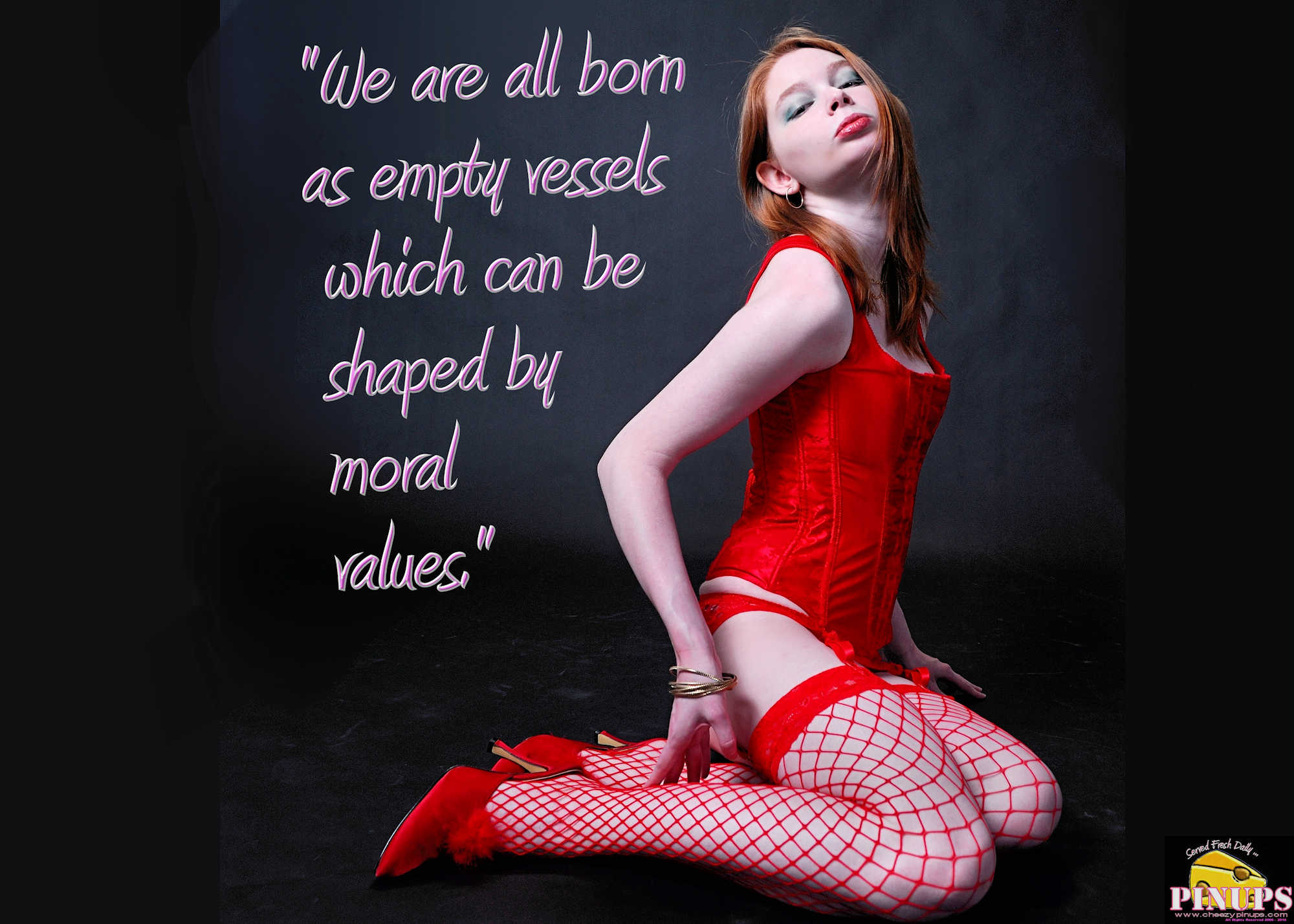 "Cheezy Pinup - February 13, 2018 ""We are all born as empty vessels which can be shaped by moral values."" - Jerry Springer Model: Redde"