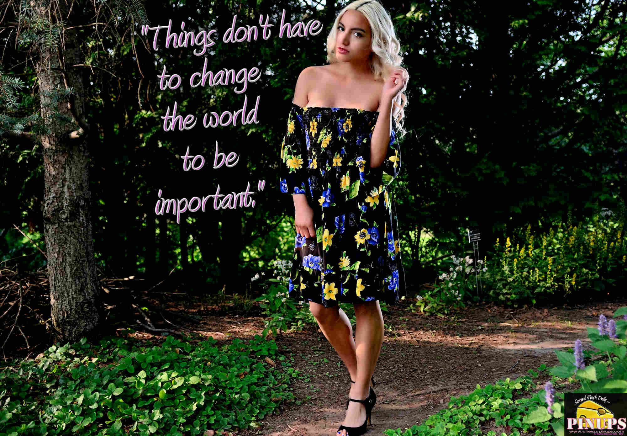 """Cheezy Pinup - February 24, 2018   """"Things don't have to change the world to be important."""" - Steve Jobs Model: @ShelbyDelFranko"""