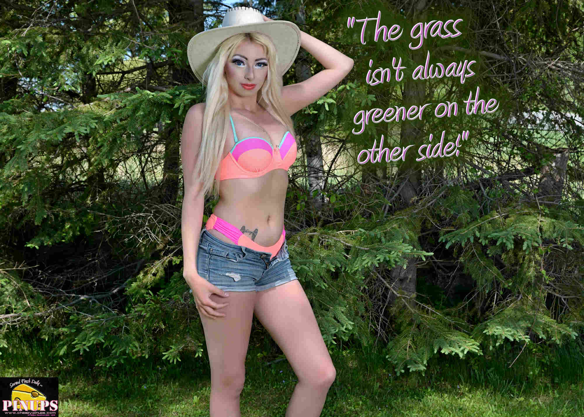 """Cheezy Pinup - February 25, 2018   """"The grass isn't always greener on the other side!"""" - @RickyGervais Model: Shayla"""