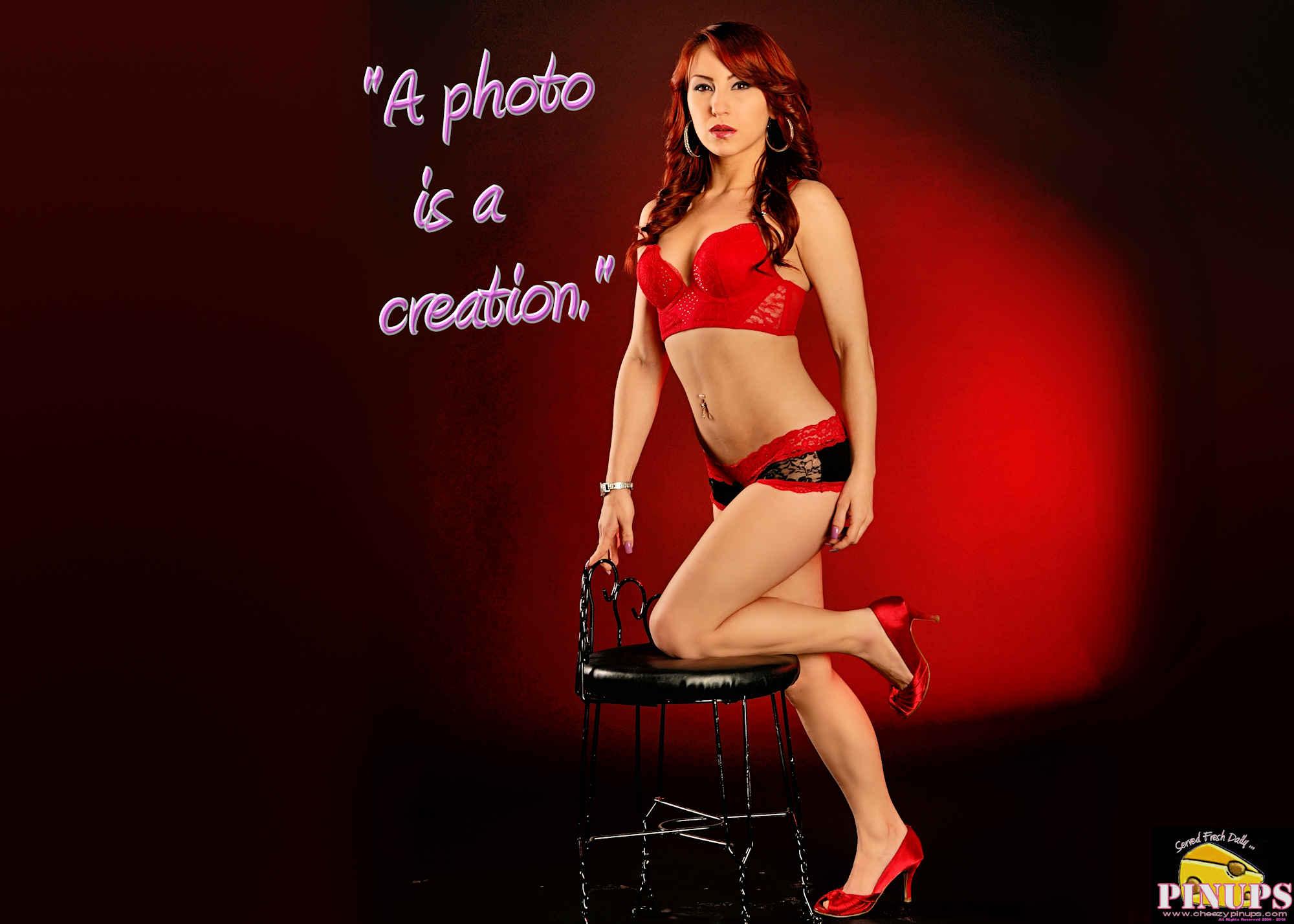 "Cheezy Pinup - March 10, 2018 ""A photo is a creation."" - Eva Herzigova Model: @StrawberryShortKaye"