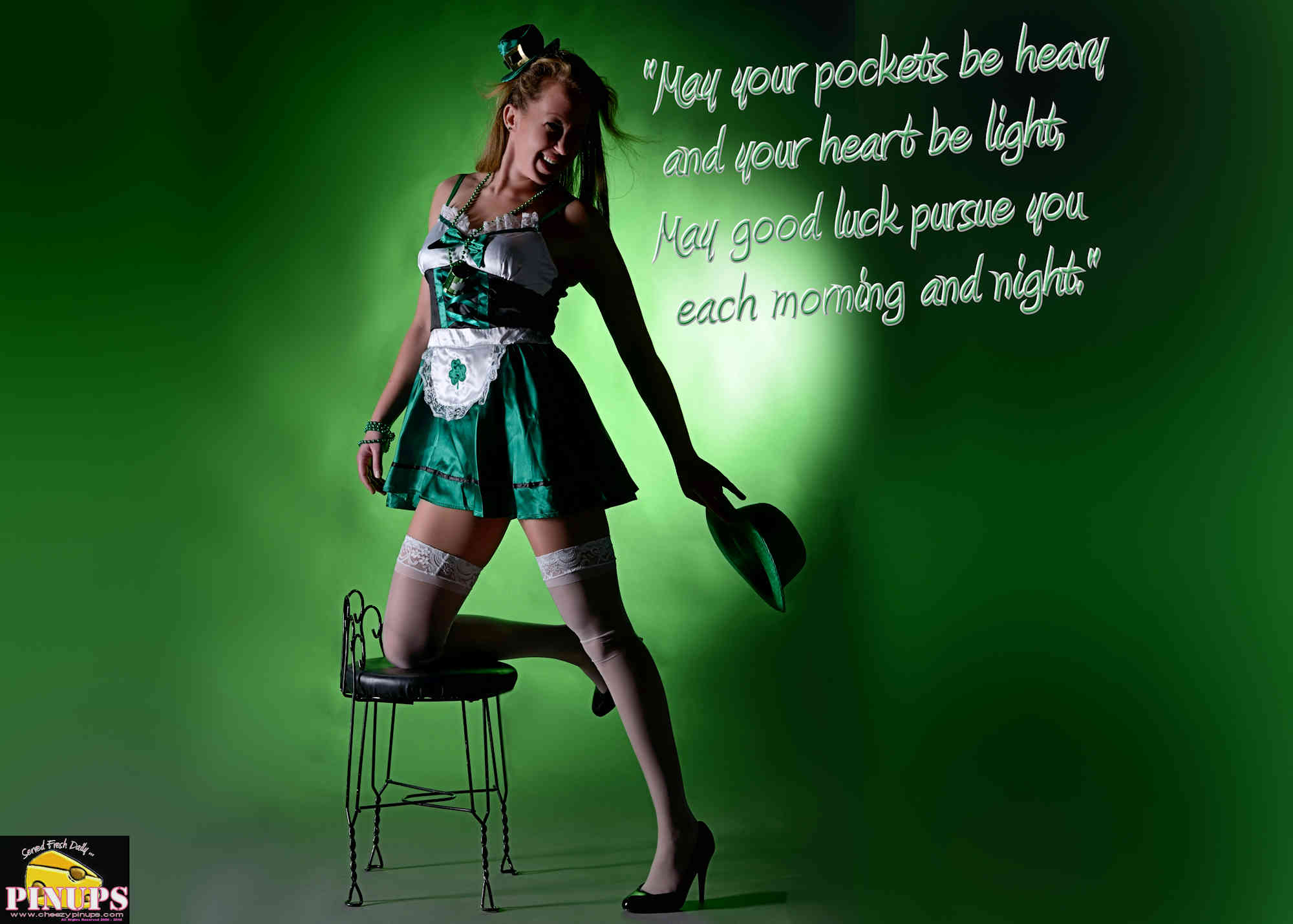 "Cheezy Pinup - March 17, 2018   ""May your pockets be heavy and your heart be light, May good luck pursue you each morning and night."" - Irish Blessing Model: Emily"