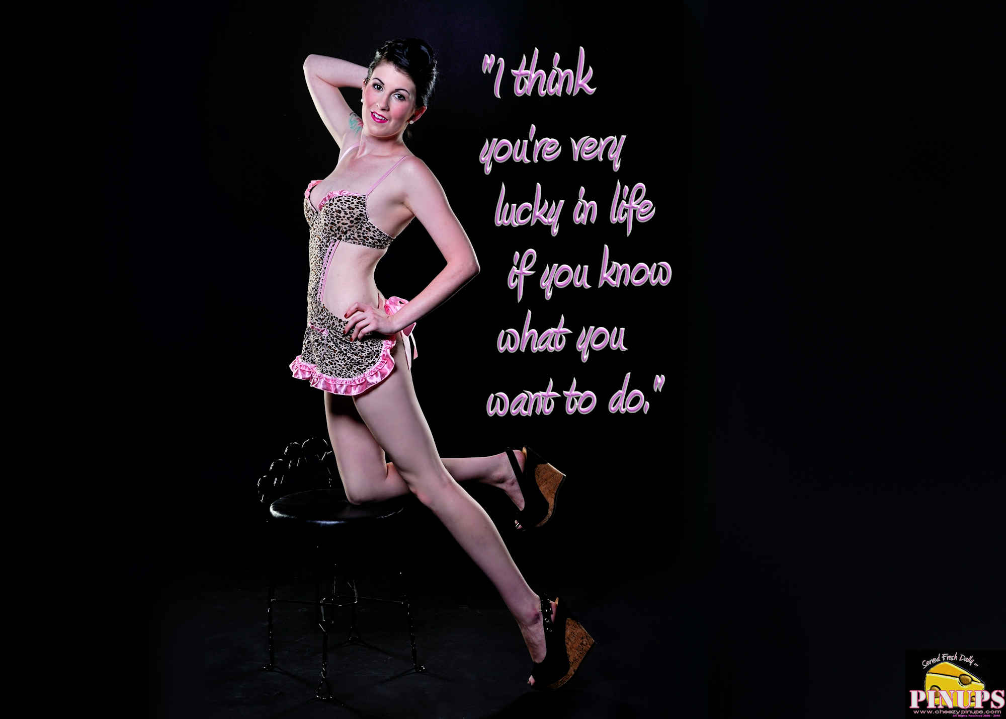"Cheezy Pinup - March 22, 2018   ""I think you're very lucky in life if you know what you want to do."" - Andrew Lloyd Webber Model: Carrie"