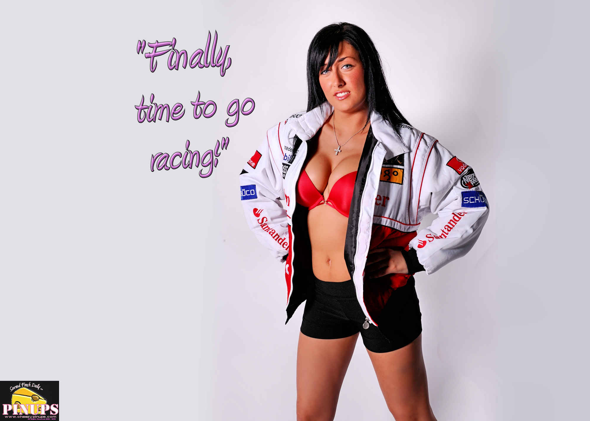 "Cheezy Pinup - March 25, 2018   ""Finally, time to go racing!"" - Fernando Alonso Model: Marie-Josee"