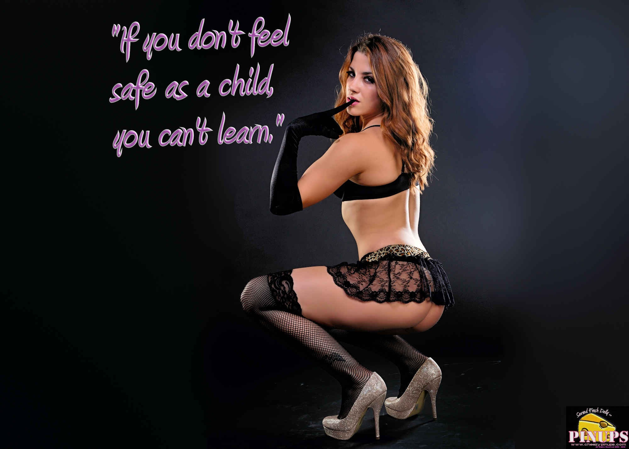 """Cheezy Pinup - March 28, 2018   """"If you don't feel safe as a child, you can't learn."""" - Lady Gaga Model: Amanda"""
