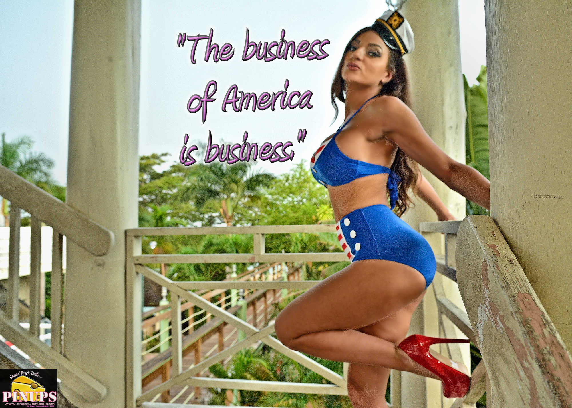 "Cheezy Pinup - July 4, 2018 ""The business of America is business."" - Calvin Coolidge Model: @MissMancini"