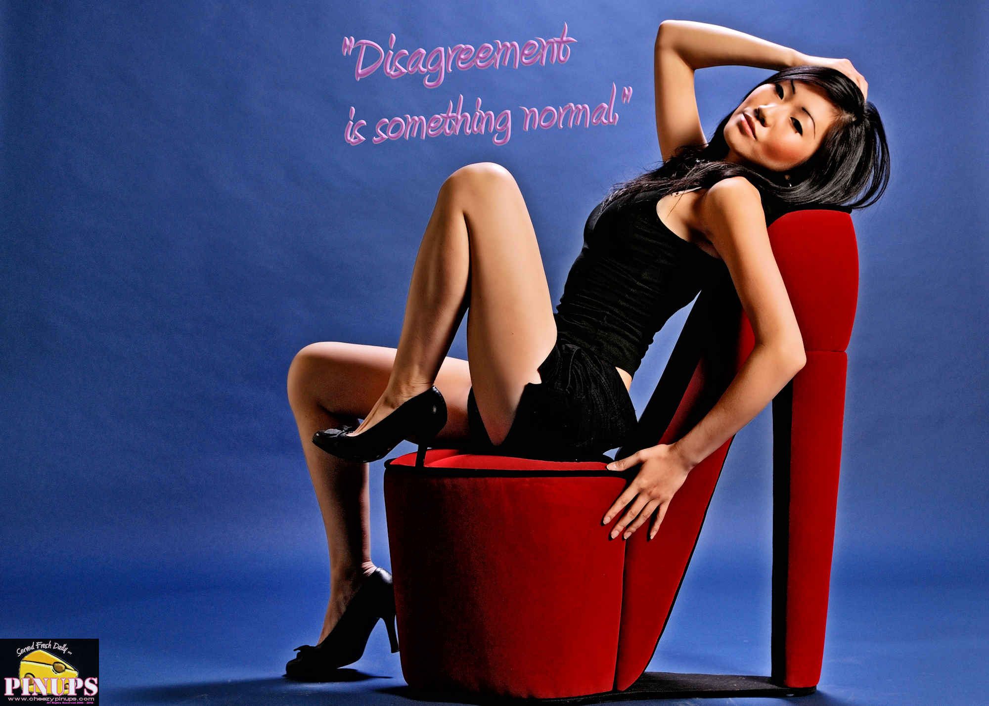 """Cheezy Pinup - July 6, 2018   """"Disagreement is something normal."""" - @DalaiLama Model : Kim"""
